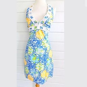 Lily Pulitzer halter dress crochet trim monkey